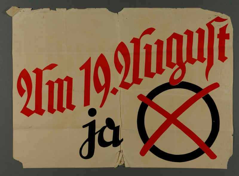 2010.485.5 front Poster with a black circle and red X ballot for Hitler's election acquired by an American tourist