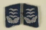 Pair of blue and silver collar tabs for a Luftwaffe Hauptmann [Captain] acquired by a US soldier