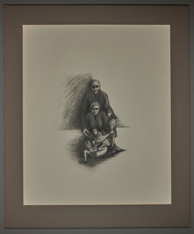 2010.489.1 front Drawing by Hannah Messinger of 2 women and 3 skeletal children