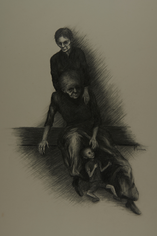 2010.489.2 front Drawing by Hannah Messinger of an old woman comforted by woman and child