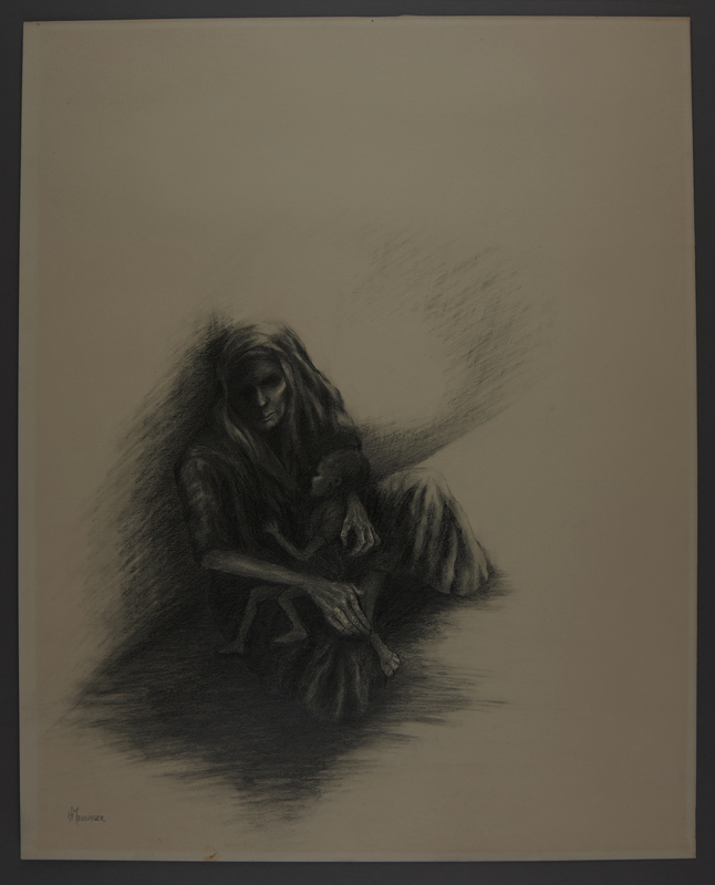 2010.489.4 front Drawing by Hannah Messinger of a cloaked woman and child slumped on a wall