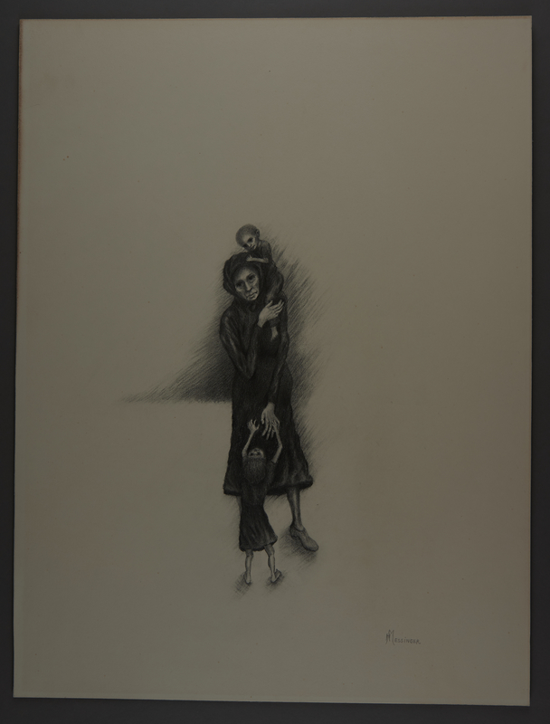 2010.489.5 front Drawing by Hannah Messinger of a woman with two emaciated children