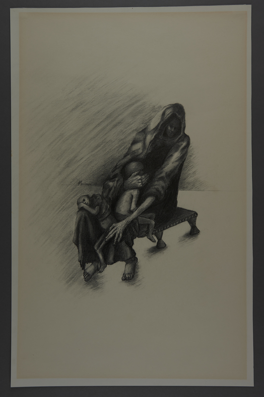 2010.489.6 front Drawing by Hannah Messinger of a woman holding 2 children on her lap