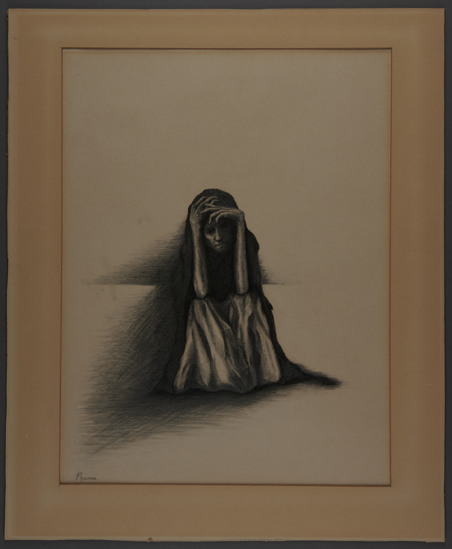 2010.489.7 front Drawing by Hannah Messinger of a woman sitting with her hands on her head