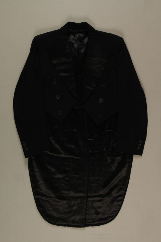 2006.19.45 front Black hunt tail coat owned by a German Jewish businessman in Shanghai
