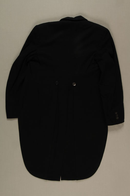 2006.19.45 back Black hunt tail coat owned by a German Jewish businessman in Shanghai