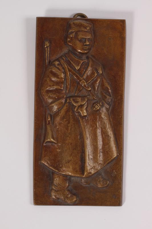 2011.108.2 a front Kurir Jovica plaque, box, and card awarded to a Macedonian Jewish partisan woman
