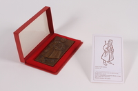 2011.108.2 a-c front Kurir Jovica plaque, box, and card awarded to a Macedonian Jewish partisan woman  Click to enlarge