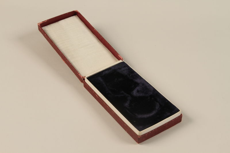 2011.108.4_b open Yugoslav Orden za Hrabrost medal, ribbon, box, and certificate awarded to a Macedonian Jewish partisan woman