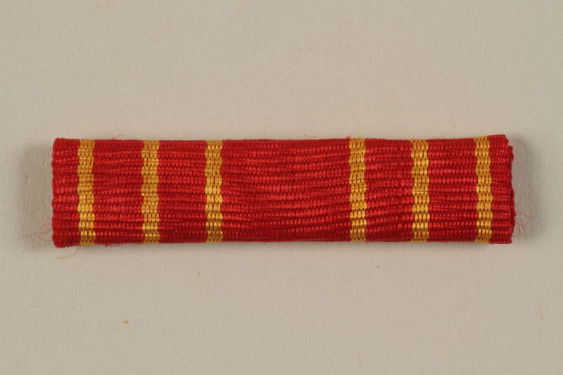 2011.108.4_d front Yugoslav Orden za Hrabrost medal, ribbon, box, and certificate awarded to a Macedonian Jewish partisan woman