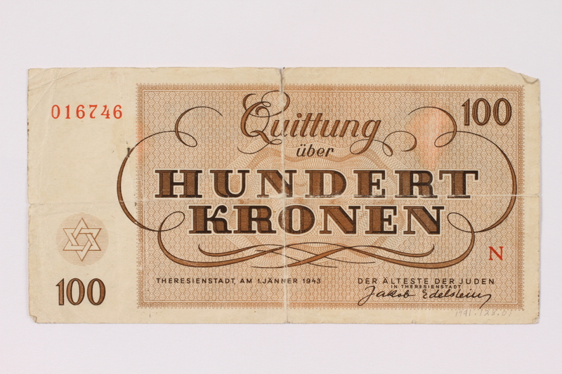 1991.128.1 back Theresienstadt ghetto-labor camp scrip, 100 kronen note
