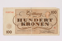1991.128.1 back Theresienstadt ghetto-labor camp scrip, 100 kronen note  Click to enlarge