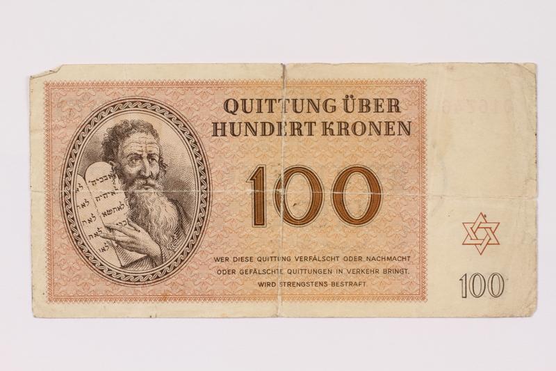 1991.128.1 front Theresienstadt ghetto-labor camp scrip, 100 kronen note
