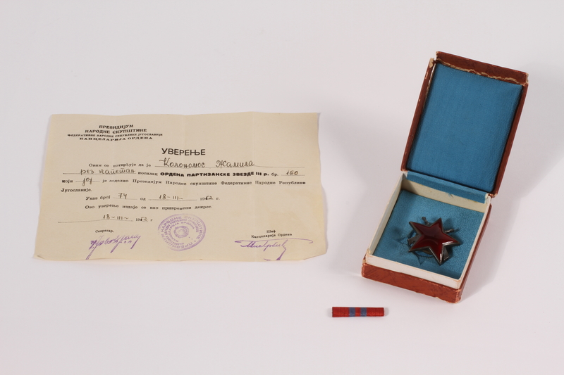2011.108.5 a-d front Yugoslavian Order of the Partisan Star awarded to a Macedonian Jewish partisan woman