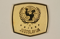 2011.108.6_a front UNICEF medallion with box awarded to a Macedonian Jewish partisan woman  Click to enlarge