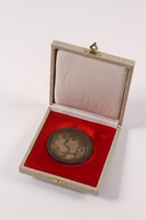 2011.108.15 a-b front Medallion and box awarded to a Macedonian Jewish partisan woman  Click to enlarge
