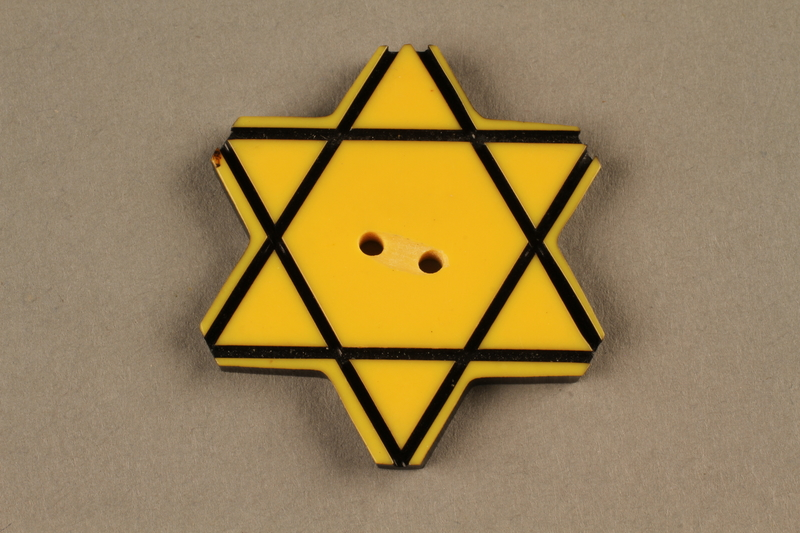 1991.135.1 front Star of David button used to identify a Bulgarian Jew