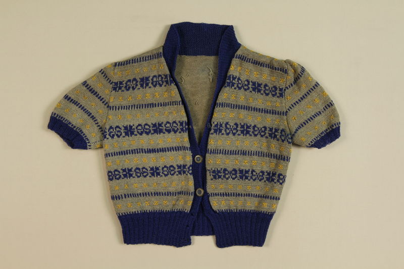1991.137.1 front Sweater knitted by an inmate in labor camp near Riga, Latvia