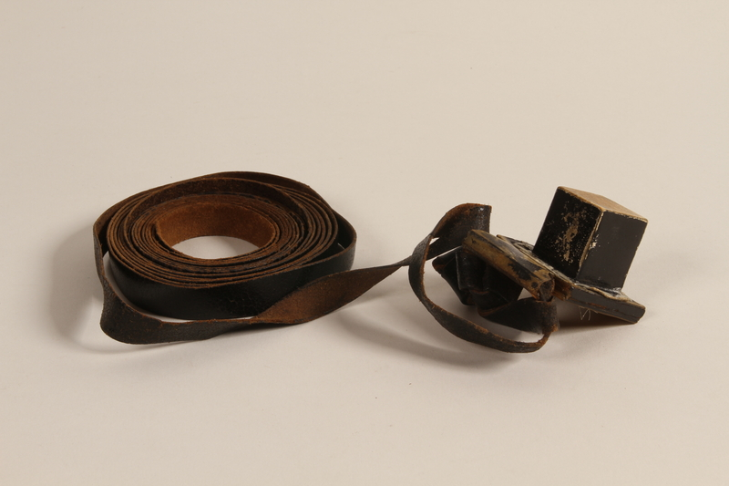 2004.611.2 a front Set of tefillin owned by a Hungarian Jewish concentration camp survivor