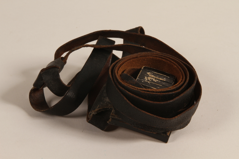 2004.611.2 b front Set of tefillin owned by a Hungarian Jewish concentration camp survivor
