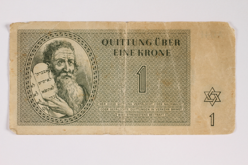 2011.141.2 front Theresienstadt ghetto-labor camp scrip, 1 krone, acquired by Kindertransport refugee