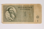 Theresienstadt ghetto-labor camp scrip, 1 krone, acquired by Kindertransport refugee