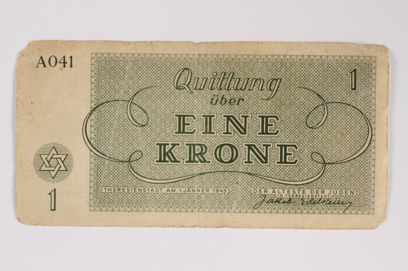 2011.141.2 back Theresienstadt ghetto-labor camp scrip, 1 krone, acquired by Kindertransport refugee