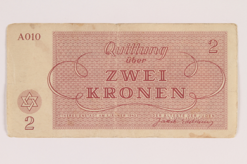 2011.141.3 back Theresienstadt ghetto-labor camp scrip, 2 kronen, acquired by Kindertransport refugee