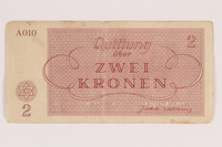 2011.141.3 back Theresienstadt ghetto-labor camp scrip, 2 kronen, acquired by Kindertransport refugee  Click to enlarge