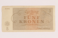 2011.141.4 back Theresienstadt ghetto-labor camp scrip, 5 kronen, acquired by Kindertransport refugee  Click to enlarge