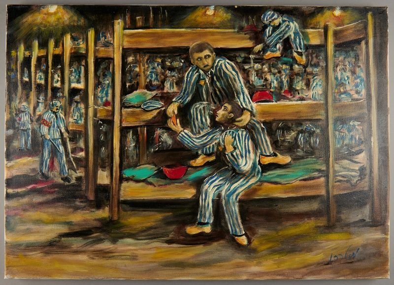 2011.161.3 front Autobiographical painting created postwar by a former concentraton camp inmate