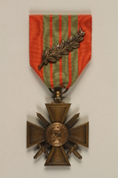 2011.160.3 front French Croix de Guerre with bronze palm awarded to a German Jewish resistance fighter  Click to enlarge