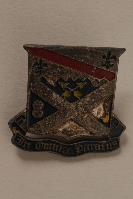 2011.75.13_a front Set of US Army 18th Infantry Regiment lapel pins acquired by a US soldier