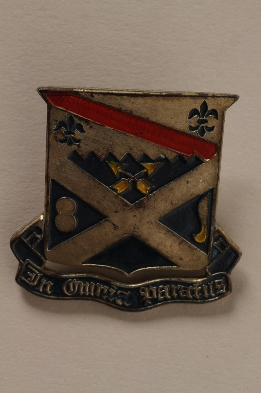 2011.75.13_b front Set of US Army 18th Infantry Regiment lapel pins acquired by a US soldier