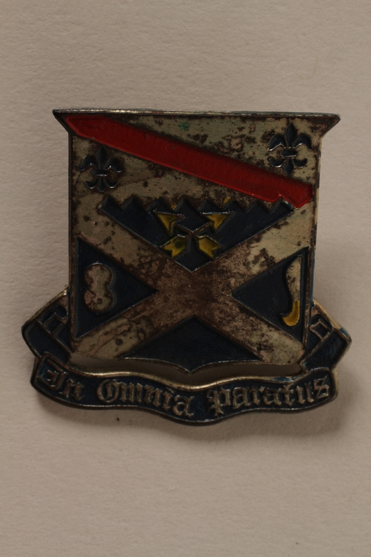 2011.75.13_c front Set of US Army 18th Infantry Regiment lapel pins acquired by a US soldier