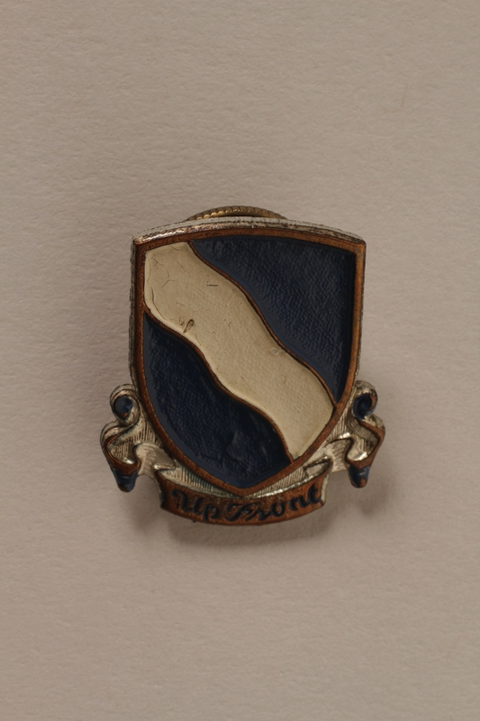 2011.75.14_a front Set of US Army 405th Infantry Regiment lapel pins acquired by a US soldier