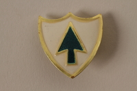 2011.75.15_c front Set of US Army 26th Infantry Regiment lapel pins acquired by US soldier  Click to enlarge