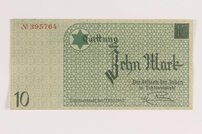 2007.45.104 front Łódź (Litzmannstadt) ghetto scrip, 10 mark note