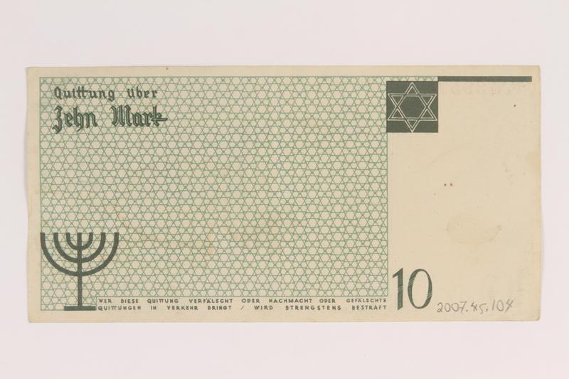2007.45.104 back Łódź (Litzmannstadt) ghetto scrip, 10 mark note