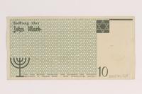 2007.45.104 back Łódź (Litzmannstadt) ghetto scrip, 10 mark note  Click to enlarge