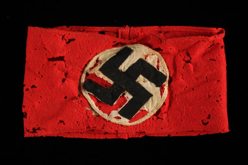 1991.139.7 front Nazi Party armband with swastika