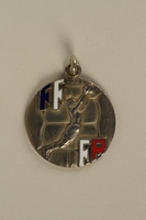 2005.602.5.2 front French Deaf-Mute National Cup basketball medal awarded to a German Jewish athlete  Click to enlarge