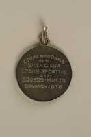2005.602.5.2 back French Deaf-Mute National Cup basketball medal awarded to a German Jewish athlete  Click to enlarge