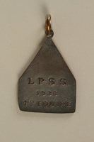 2005.602.5.3 back Deaf-mute sports team medal awarded to a German Jewish athlete  Click to enlarge