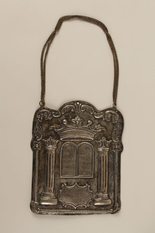 1991.140.2 front Torah breastplate recovered postwar from the site of the destroyed synagogue in Grodno