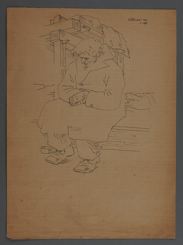 2011.174.5 front 2 sided drawing of a seated inmate in an overcoat given to a political prisoner