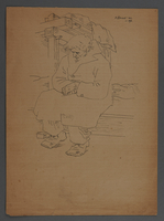 2011.174.5 front 2 sided drawing of a seated inmate in an overcoat given to a political prisoner  Click to enlarge