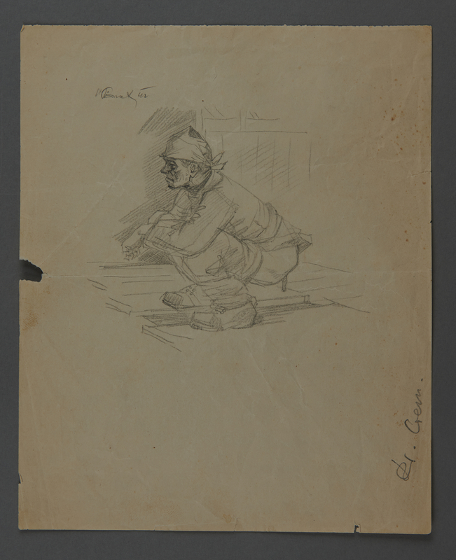 2011.174.8 front Drawing of a man using the latrine given to a Yugoslavian political prisoner