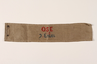 1991.145.1 front OSE (Ouevre de Secours aux Enfants) armband  Click to enlarge