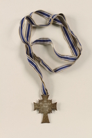 2002.327.6 back Cross of Honor of the German Mother medal, 2nd Class Order, Silver Cross  Click to enlarge